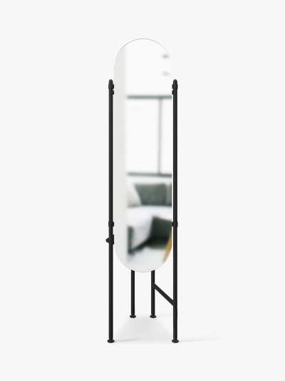 Umbra Vala Floor Mirror & Clothing Valet Rack with Storage Tray, 180 x 119cm, Black