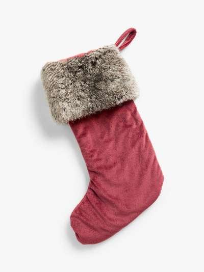 John Lewis & Partners Velvet Christmas Stocking With Faux Fur Trim, Red / White