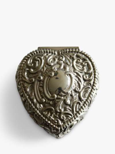 VF Jewellery Embossed Heart Shaped Second Hand Silver Trinket Box, Dated Chester 1897