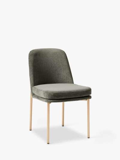 west elm Jack Velvet Dining Chair, Beetle Green/Brass
