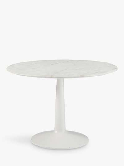 west elm Liv 4 Seater Round Marble Dining Table, White