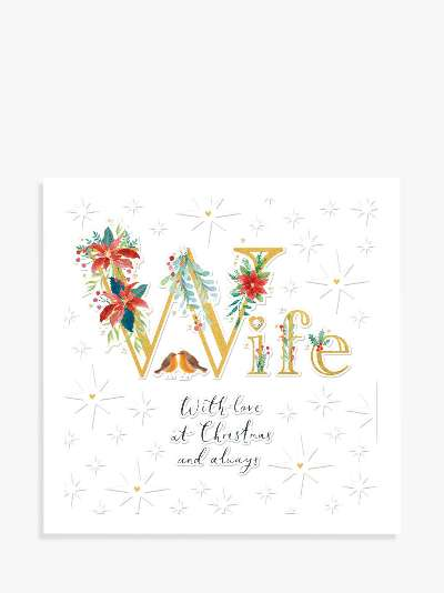 Woodmansterne Floral Robins Wife Christmas Card