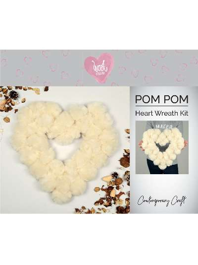 Wool Couture Heart Pom Pom Wreath Craft Kit