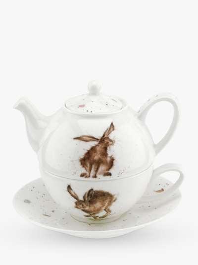 Wrendale Designs Hare Tea-For-One Teapot, 300ml, White/Multi