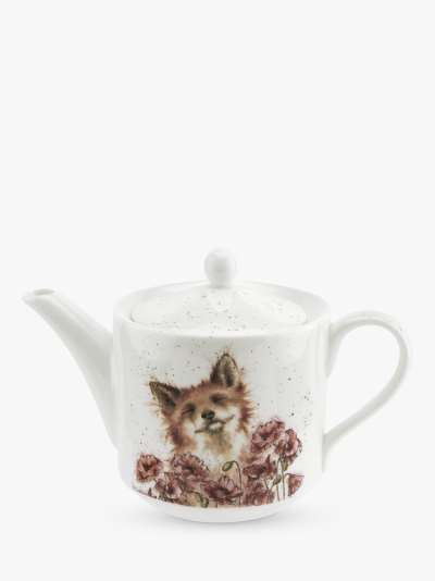 Wrendale Designs Poppy Field Fox Teapot, 600ml, White/Multi