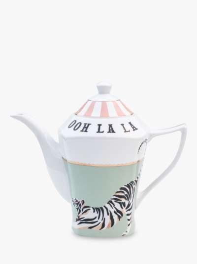 Yvonne Ellen Tiger 'Ooh La La' Teapot, 1.3L, White/Multi
