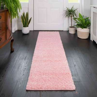 Baby Pink Shaggy Runner Rug | Vancouver