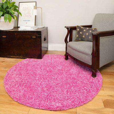 Barbie Pink Shaggy Circle Rug | Vancouver