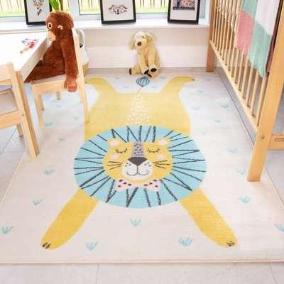 Bright Sleeping Lion Soft Kids Bedroom Rugs | Nino