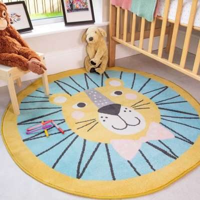 Circle Lion Face Soft Round Kids Bedroom Rugs | Nino