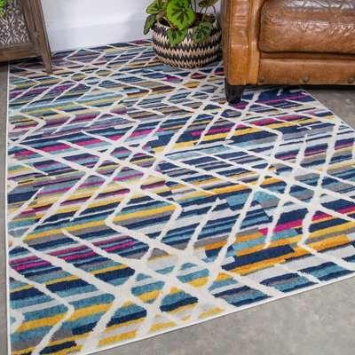 Colourful Geometric Strokes Pattern Runner Rug | Oscar