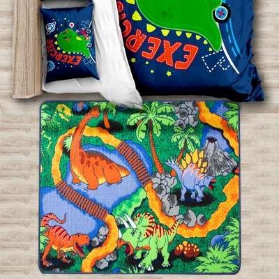 Colourful Kids Dinosaur Land Rug
