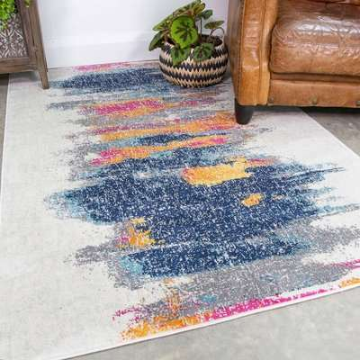Distressed Colourful Brushed Effect Pattern Rug   Oscar