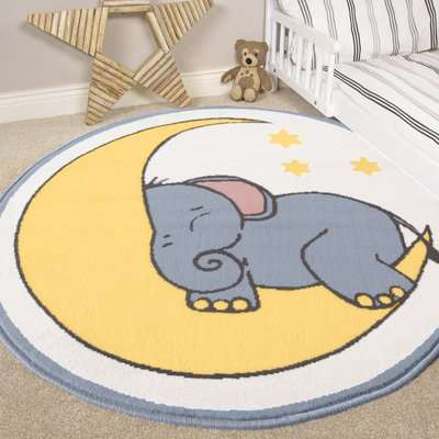 Elephant Kids Nursery Bedroom Rug | Milan
