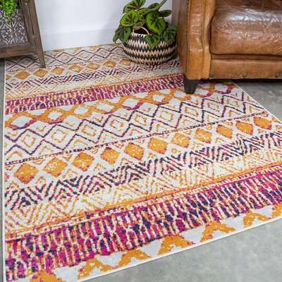 Faded Distressed Colourful Oriental Pattern Runner  Rug | Oscar
