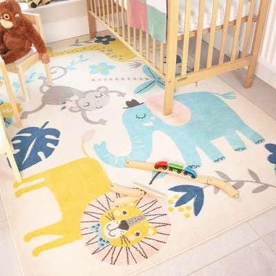 Fun Jungle Wildlife Soft Kids Bedroom Rugs | Nino