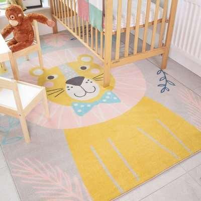 Fun Lion Jungle Soft Kids Bedroom Rugs | Nino