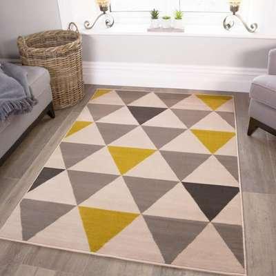 Yellow Grey Geometric Triangle Bedroom Rug   Milan