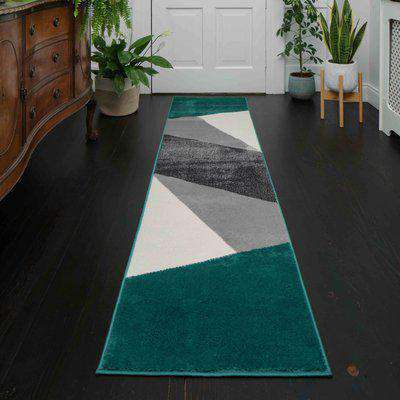 Modern Emerald Green Abstract Hall Runner Rugs   Enzo
