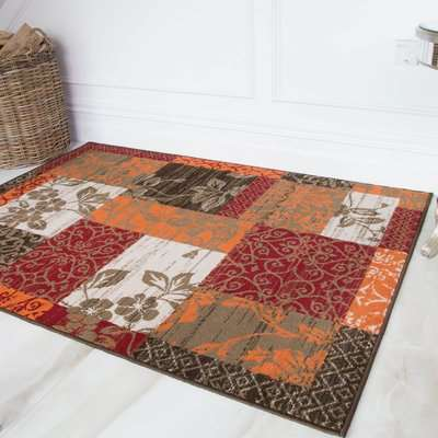 Terracotta Red Warm Patchwork Living Room Rug   Milan
