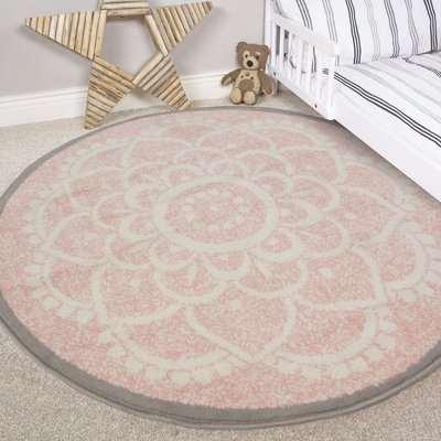 Pink Round Floral Living Room Rug | Milan