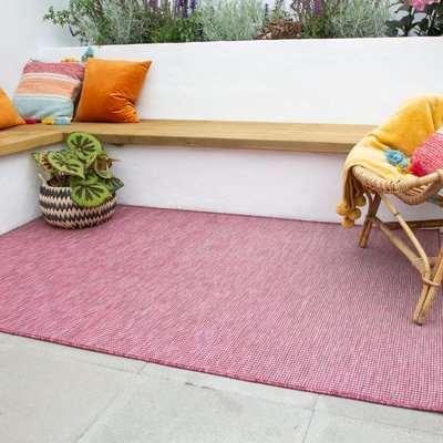 Raspberry Mottled Indoor | Outdoor Runner Rug | Patio