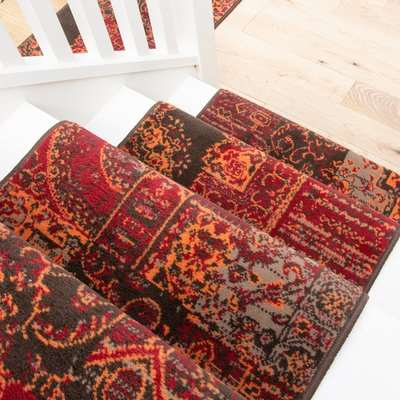 Red Patchwork Stair Carpet Runner - Cut to Measure  Scala