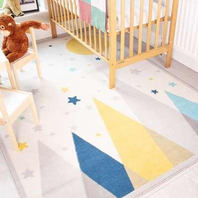 Scandi Mountain Motif Soft Kids Bedroom Rugs | Nino