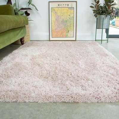 Super Soft Luxury Blush Pink Shaggy Rug   Aspen