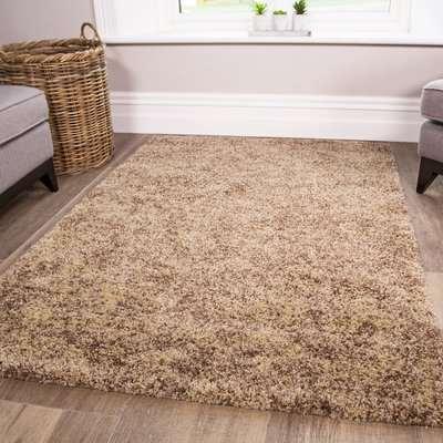 Luxurious Taupe Shaggy Living Room Rug   Murano