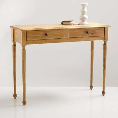 Authentic Style Solid Pine 2-Drawer Console Table