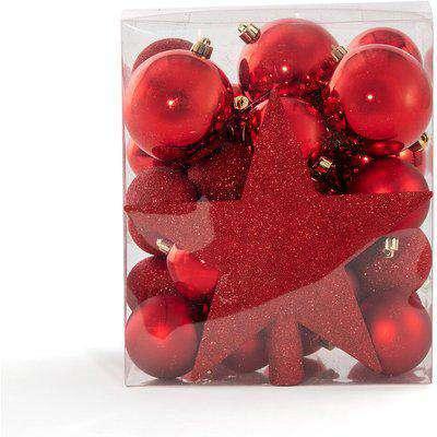 Caspar Box of 33 Red Christmas Decorations