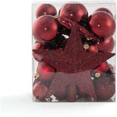 Caspar Box of 33 Wine-Coloured Christmas Decorations