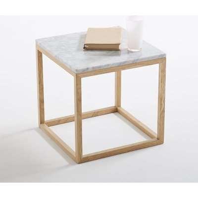 Crueso Side Table in Marble & Solid Oak