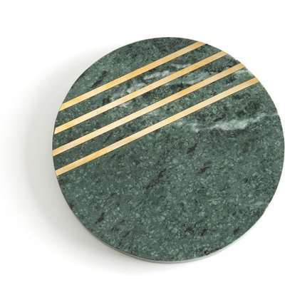 Fitia Marble Trivet with Gold Leaf Stripes