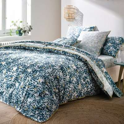 Foliage Printed Duvet Cover in Cotton Percale