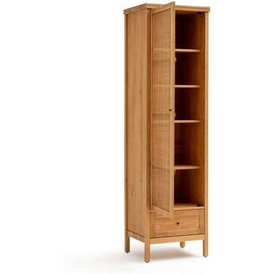 Gabin Solid Pine & Rattan Single Wardrobe