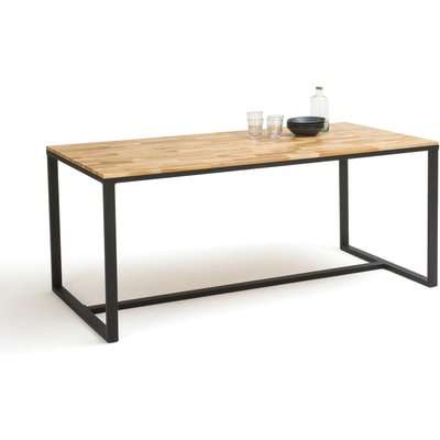 Hiba Dining Table in Oak/Steel, Seats up to 8