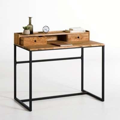 Hiba Industrial Style Desk in Metal & Oak
