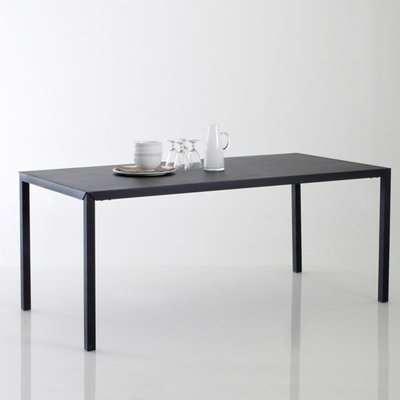Hiba Matte Black Metal Dining Table (Seats 6)
