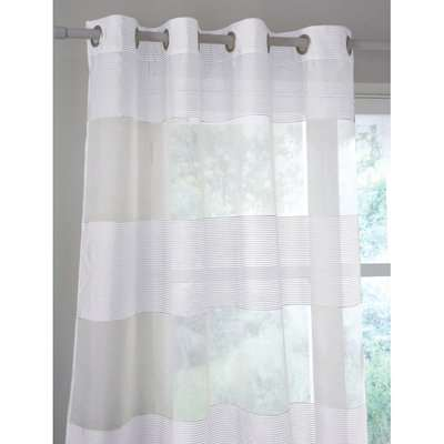 Linda Wide Stripe Single Voile Panel with Eyelets