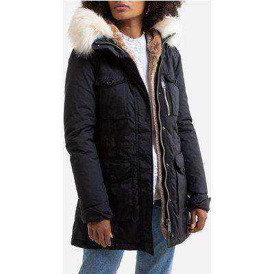 Mid-Length Parka with Faux Fur Hood and Pockets