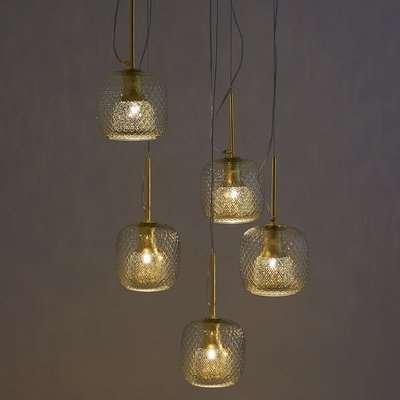 Mistinguett 5 Globe Cluster Ceiling Light in Textured Glass