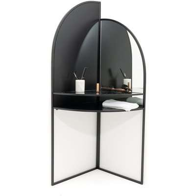 Palazzo Corner Dressing Table in Metal & Glass