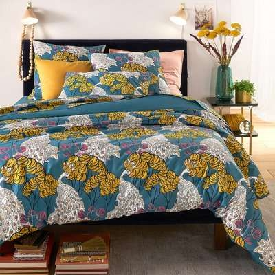 Peacock Blue Duvet Cover in Printed Cotton Percale