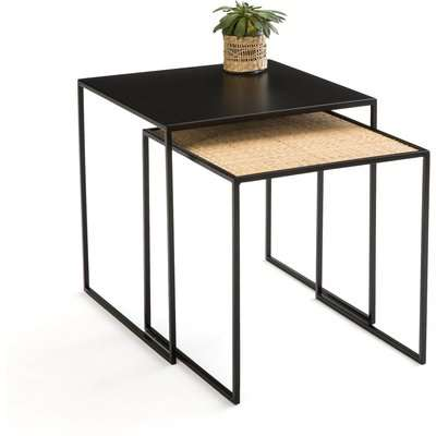 Set of 2 Rosali Nesting Coffee Tables in Metal & Cane