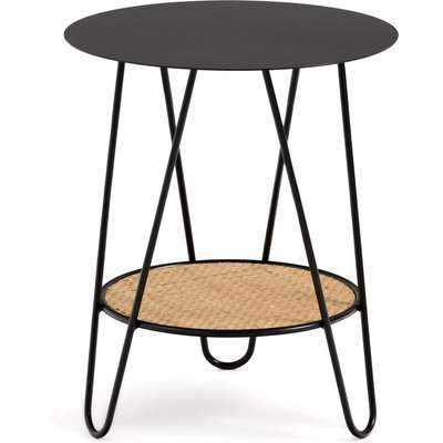 Rosali Side Table in Metal & Rattan