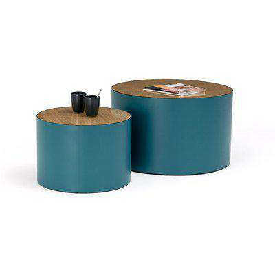 Set of 2 Rimel Metal and Cane Coffee Tables