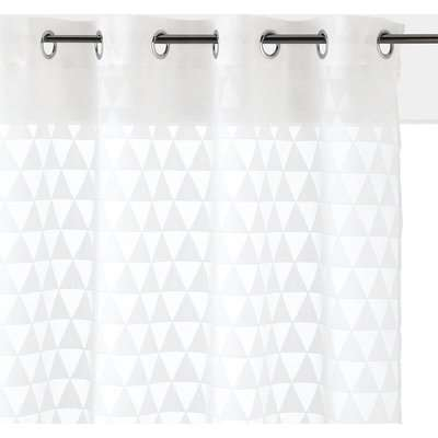 Triangle Single Voile Panel in a Jacquard Design with Eyelet Header