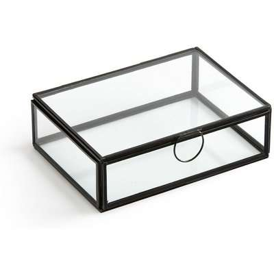 Uyova Rectangular Trinket Box in Brass/Glass